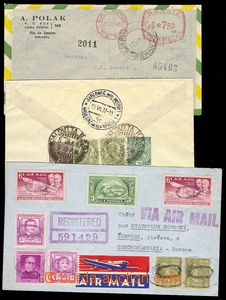 26728 - 1937 - 1950 3 air-mail letters : 1x Reg letter from Brazil