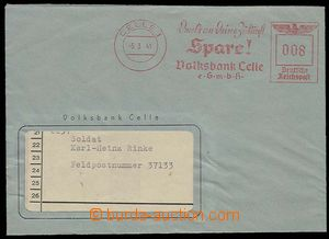 26738 - 1941 GERMANY window envelope with meter stmp CELLE Volksbank