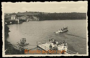 26754 - 1938 přehrada Vranov nad Dyjí,  čb, přehrada s lodí, oz