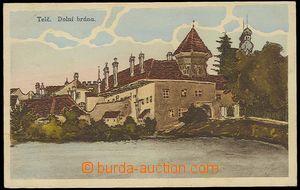 26756 - 1919 TELČ - barevná, kreslená,  pohled na Dolní bránu, nákla