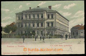 26757 - 1903 TŘEBÍČ - barevný pohled na C.k. gymnázium, nákladem J.L
