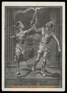 26794 - 1936 OLYMPIÁDA Berlín, sportovci s pochodněmi, čb, dva zlomy