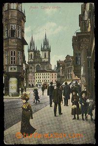 26808 - 1911 PRAHA - kolorovaný kolážový pohled na Týnský chrám s po
