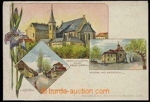 26809 - 1920? SMÍCHOV - barevná litografická 3-okénková pohlednice s