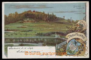 26824 - 1899 Trutnov, městský park + erb,  barevná litografie, pr
