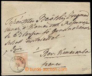 26891 - 1850 dopis vyfrankovaný zn. 3kr, Mi.3, světle cihlová bar