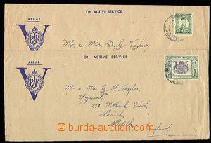 26910 - 1946 2 spec. dopisy RAF (ON AKTIVE SERVICE) zaslané do Angl