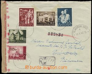 26945 - 1942 Reg letter to Bohemia-Moravia, with Mi.49, 82, 83-85, C