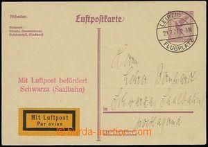 26947 - 1927 GERMANY  air PC Mi.PP89 to Schwarzy, CDS Leipzik Flugpl