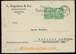 26998 - 1935 NĚMECKO  obchodní lístek vyfr. zn. Mi.2x 515 s perfi