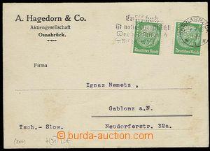 26999 - 1935 NĚMECKO  obchodní lístek vyfr. zn. Mi.2x 515 s perfi