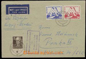 27084 - 1951 GDR  air-mail letter to Prague, with Mi.282-3 + Mi.217