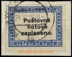 27110 - 1918 provisional, Pof.NN4H, broken out cancel Prague 1/ 28.X