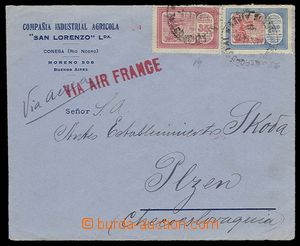 27125 - 1934 letecký dopis do Plzně, vyfr. zn. Mi.321, 330, řádkové