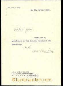 27146 - 1946 BENEŠOVÁ Hana (1885–1974), wife of president Beneš, tha