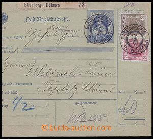 27147 - 1907 větší díl poštovní průvodky s kolkem 10h (Sch.22