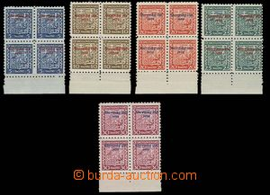 27196 - 1939 overprint, Alb.2-6, blocks of four with lower margin, t