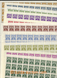 27200 - 1943 Pof.SL13-24, issue II, every value in 100-stamps sheet