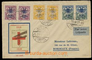 27205 - 1927 airmail letter to France with Mi.100, 101, 102 in pairs