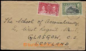 27215 - 1937 dopis do Skotska, vyfr. zn. 6c + 3c, DR Balancoda/ 5. O