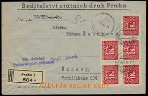 27307 - 1946 služební R-dopis na soukromou osobu, vyznačeno razí