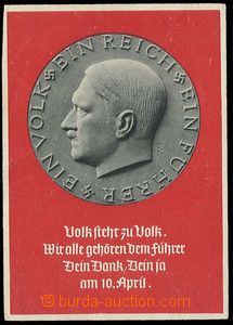 27308 - 1938 Hitler, portrait on/for medallion, large format; Un, on