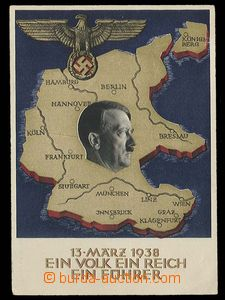 27310 - 1938 A. Hitler and map Germany, Us to Opava, stmp 6Rpf, part