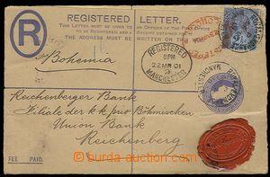 27320 - 1901 p.stat Reg letter, Mi.EU20B, format G, uprated stamp. M