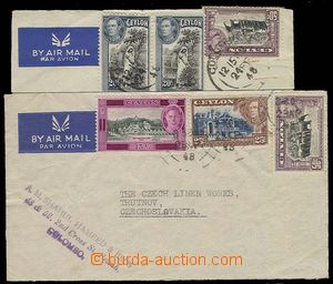 27333 - 1948 2x L-dopis do ČSR, vyfr. zn. SG.391, 394 a 404, 392, 3