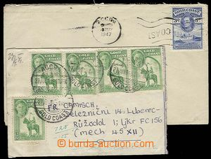 27336 - 1947-53 3 dopisy do ČSR, vyfr. zn. SG.135, 137, 138, 124, v