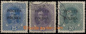 27371 - 1919 Mi.35-37, overprint POCZTA POLSKA, postmark in margins,
