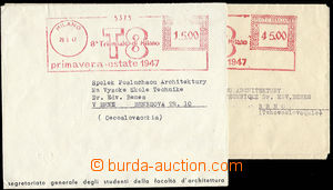 27431 - 1946-47 ITALY  2 letters with special meter stmp to 8. Trien