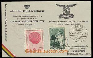 27455 - 1937-38 balloon PC Gordon Bennett, balloon flight Belgica, 2