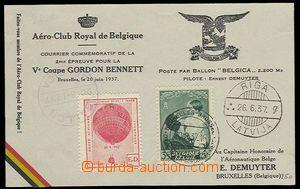 27455 - 1937-38 balónová dopisnice Gordon Bennett, balónový let Belg