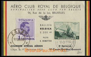 27456 - 1938 balloon PC Gordon Bennett, balloon flight Belgica 11.9.