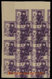 27481 - 1920 Pof.162, block PLATE PROOF on brown paper without gum,
