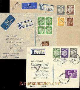 27489 - 1950 sestava 3ks R-dopisů do ČSR, z toho 2x letecky, bohat