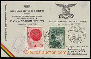 27493 - 1937 balónová dopisnice Gordon Bennett, balónový let Belgica