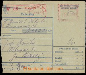 27517 - 1953 středový part of dispatch-note with payment meter stm