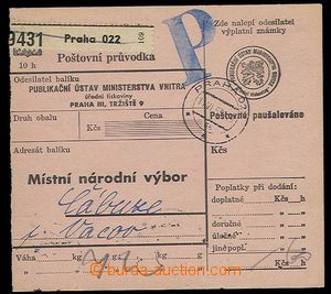 27518 - 1953 part post. dispatch-note with payment average sum, send