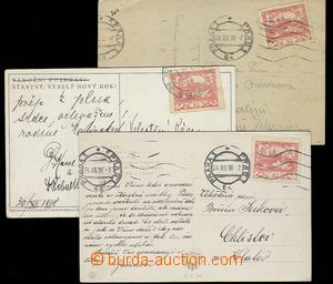 27553 - 1918 3 pcs of Ppc franked. stmp 10h (Pof.5) and used shortly