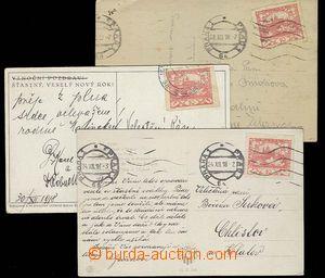 27553 - 1918 3ks pohlednic frank. známkou 10h (Pof.5) a použitých