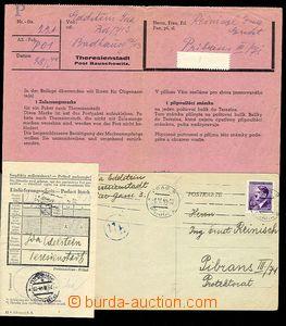 27559 - 1944 TEREZÍN,   3 dokumenty k jednomu balíku do Terezína,