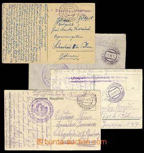 27566 - 1916-18 4 entires with postmarks Etappenpostamt, 3x Albania