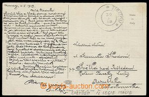 27567 - 1919 ITALY  postcard from Czechosl. legionnaire in Italy tra