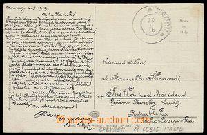 27567 - 1919 ITÁLIE  pohlednice od čs. legionáře v Itálii přep