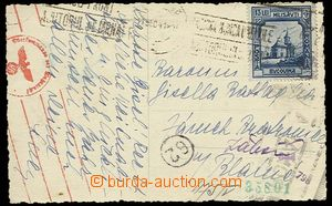 27594 - 1941 postcard to Czechoslovakia with Mi.729, 2x badly readab
