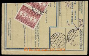 27596 - 1941 franked parcel dispatch card segment with mounted stmp