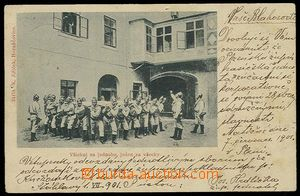 27601 - 1901 monochrome photo postcard firemen with plachtou below o