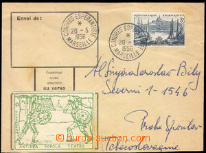 27607 - 1956 ESPERANTO / FRANCE  letter with Mi.1065, special postma